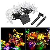 LEDMOMO Lichterkette 4.5m 20 LED Schmetterling Solar String Lights für Weihnachten Home Hochzeit Party Schlafzimmer Geburtstag Dekoration (Mehrfarbige Licht)
