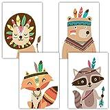 Frechdax® 4er Set Kinderzimmer Babyzimmer Poster Bilder DIN A4 | Mädchen Junge Deko | Dekoration Kinderzimmer | Waldtiere Safari Skandinavisch (4er Set Indianer, Waldtiere, Boho, Bunt)