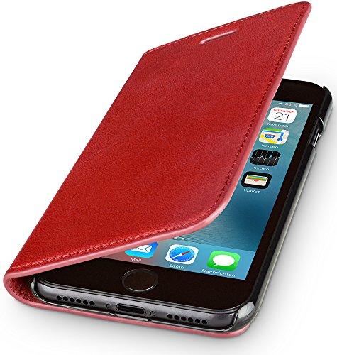 WIIUKA Echt Ledertasche -TRAVEL Nature- für Apple iPhone 5 / 5S / SE -DEUTSCHES Leder- Rot, mit Kartenfach, extra Dünn, Tasche, Leder Hülle kompatibel mit iPhone 5/5S/SE Leder Smartphone