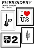 U2 Joshua tree Features Bono The Edge Adam Clayton and Larry Mullen U2 rock band black ns white color wall art home decor Embroidery handmade design Art ... pattern Gift for him (English Edition)