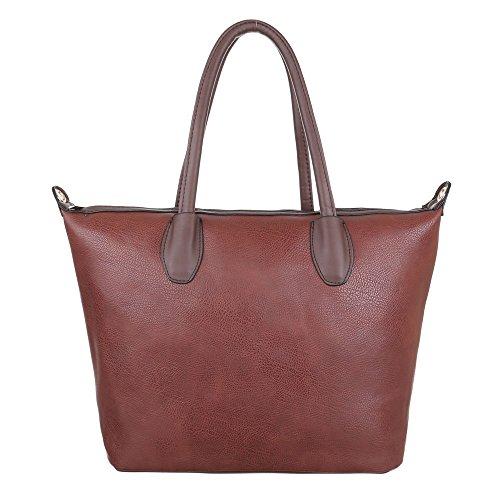 Damen Tasche, Schultertasche, Mittelgroße Handtasche Tragetasche, Kunstleder, TA-C780 Braun