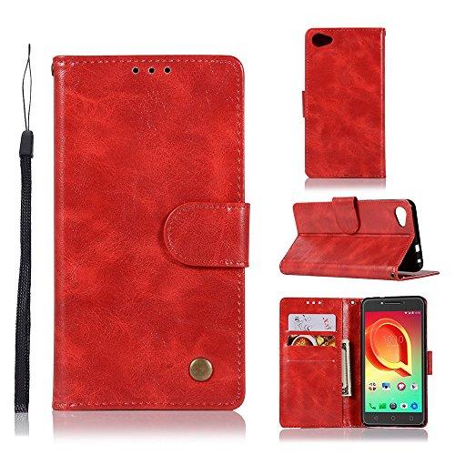 kelman cover per alcatel a5 led custodia pu in pelle + silicone tpu flip portafoglio custodia per cellulare - (jx05 / red)