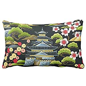 Oriental Pagode sur noir Couvre-lit Taie d'oreiller 20en * 30en 2Côtés Parure de lit Canapé Housse de coussin Taie d'oreiller Taie d'oreiller