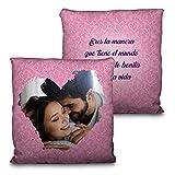 LolaPix Cojín San Valentín. Personalizado con tu Foto. Tamaño 35cm. Varios diseños. Regalo para Enamorados único, Original y Exclusivo. Bonita Vida