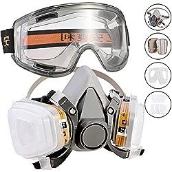 Respirador, Faburo Kit de Máscara de Gas mas Gafas de Seguridad, Semimáscara Antigas Mascarilla Gas Filtros Respirador Protección Respiratoria para Pintura, Polvo, Productos Químicos, Formaldehído