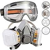 Faburo 14pz Respiratore Kit Maschera Antigas Gas Semimaschera con Goggle Doppio Filtro Protezione Maschera Riutilizzabile Anti Gas, Vapori, Verniciatura a Spruzzo, Polvere