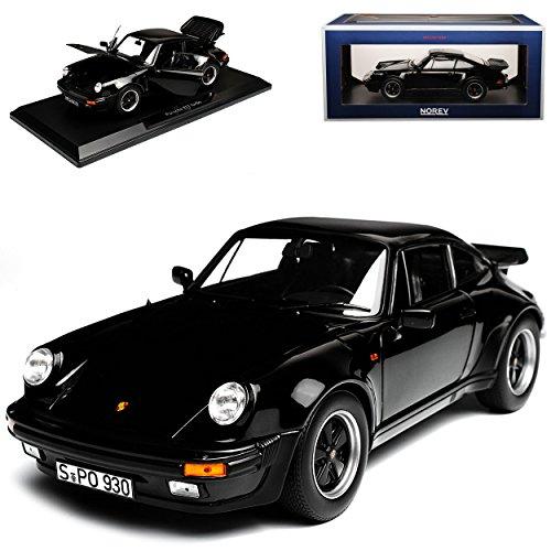 Turbo Modell 911 Porsche (Porsche 911 930 Turbo 3.3i G-Modell Coupe Schwarz 1973-1989 1/18 Norev Modell Auto mit individiuellem Wunschkennzeichen)