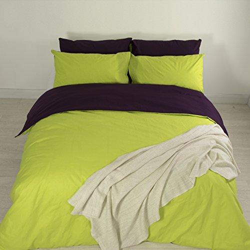Adam Home Luxus Neu 5pcs Reversibel Komplett Bettdecke Abdeckung Einstellen + 4X Kissenbezüge Bettwäsche Einstellen - Aubergine/Green - King (8 Stück King-schlafzimmer)