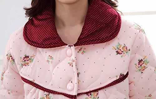 QPALZM Coreano Inverno Più Caldo Pigiama Di Cotone A Maniche Lunghe Di Spessore Di Velluto Pink