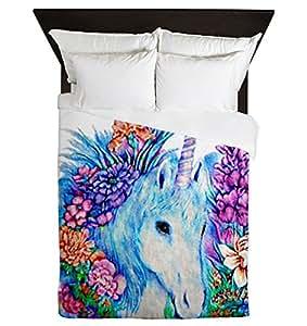 queen housse de couette motif licorne en fleurs. Black Bedroom Furniture Sets. Home Design Ideas
