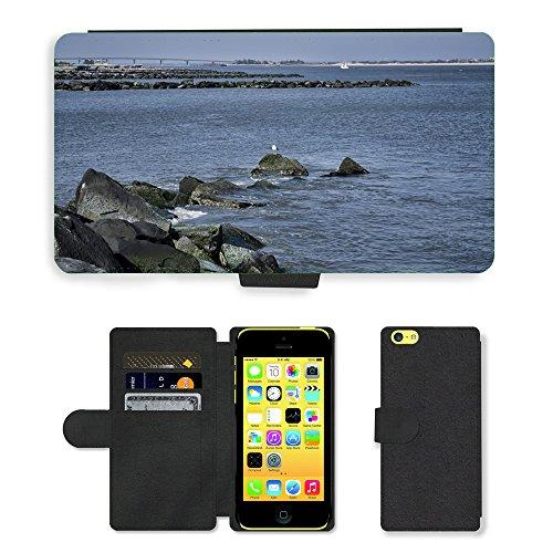 Just Mobile pour Hot Style Téléphone portable étui portefeuille en cuir PU avec fente pour carte//m00139821Eau Océan Mer Mouette d'Oiseaux Rocks//Apple iPhone 5C