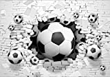 Photo Wallpaper Mural Welt-der-Träume | 3D Footballs in Brickwall | P8 (368cm. x 254cm.) | Photo Wallpaper Mural 3383P8-MS | Imitation Wall White Bricks Football Sport 3D