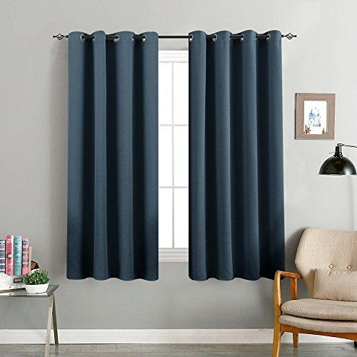 TOPICK Vorhänge Blickdicht Gardine Wohnzimmer mit Ösen,Dunkel Blau,160 x 132 cm(H x B), - Vorhänge Für Wohnzimmer Blau