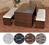 CLP Poly-Rattan Gartenbar Set CORUNA, 2 x Sitzbank ca. 160 x 40 cm, Bar-Tiisch 180 x 85 cm, Sitzkissen 6 cm dick Braun Meliert