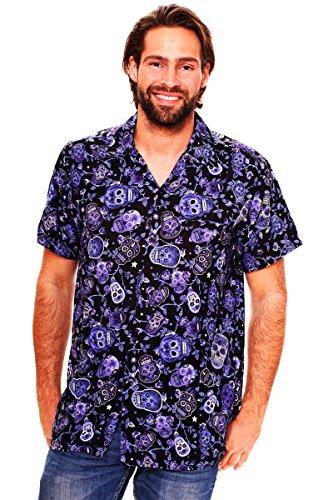 Funky Camisa Hawaiana, Skull, blue, M