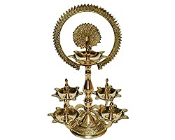 Waqeel Sahab Traditional / Royal Brass Pooja Aarti Stand With Five Diyas