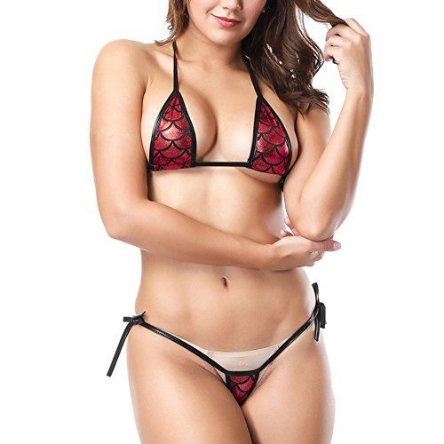 Allegorly Sexy Dessous Set Brazil Bikini-Set Damen Mini Reizwäsche Unterwäsche Pailletten-BH Ouvert und Tanga Metallic Glanz Mini Mikro BH -