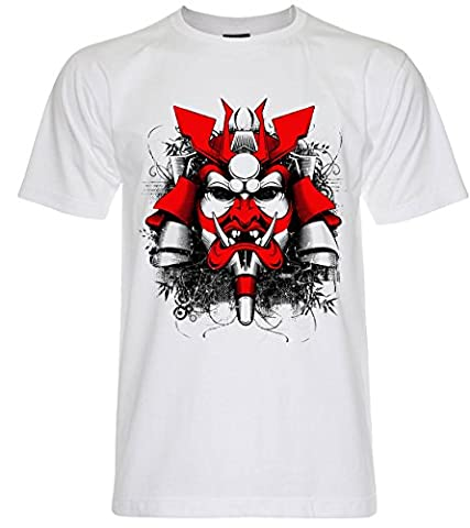 PALLAS Men's Samurai Mask Pirates Graphic Art T Shirt -PA239 (White , XL)
