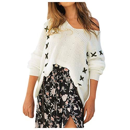 Maleya Frauen Lose Gestrickte Feste Langarm Oansatz Pullover Bluse Pullover Mantel Pullover Bluse gesticktes Pullover-Sweatshirt-Kleid Blusen um Plus Size Zipper Overlay weites Bein Overall -