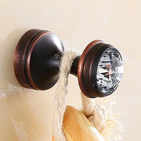 LongFaAntique salle de bains salle de bain de cuivre noir crochet crochet crochet crochet d'étendage,Nouveau cristal Black Bronze