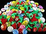 Knöpfe für Kinder Kinderknöpfe Knopf Scrapbooking Mischung aus 115 Knöpfen Marienkäfer Erdbeeren klein und groß Smiley