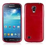 Cadorabo Hülle für Samsung Galaxy S4 Mini - Hülle in ROT – Handyhülle aus TPU Silikon in gebürsteter Edelstahloptik (Brushed) Silikonhülle Schutzhülle Soft Back Cover Case Bumper