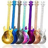 Guitar Coffee Teaspoons, 7pcs Colorful Stainless Steel Musical Coffee Spoons Cute Tea Spoons Set Stirring/Mixing/Sugar/Desser