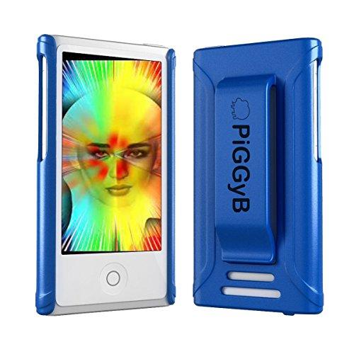 PiGGyB Clip IT! Schutzhülle mit Gürtelclip für iPod Nano 7/8 / 7 / 7G, Metallic-Finish, Blau Metallic