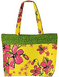 De usos múltiples de color amarillo con multicolor Shopping Bag algodón bolsa de asas con cierre de cremallera y dos asas