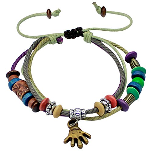 Schönes Armband Leder Handarbeit-verziert mit Perlen vulkanischen mit natürlichen Farben-verpackt in schöner Velours Pouchette, Größe verstellbar passt sich 7bis 9Zoll -