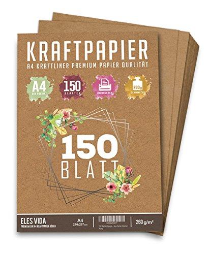 150 Blatt Kraftpapier A4 Set - 260 g - 21 x 29,7 cm - DIN Format - Bastelpapier & Naturkarton Pappe Blätter aus Kraftkarton zum Drucken, Kartonpapier Basteln für Vintage Hochzeit Geschenke Etiketten