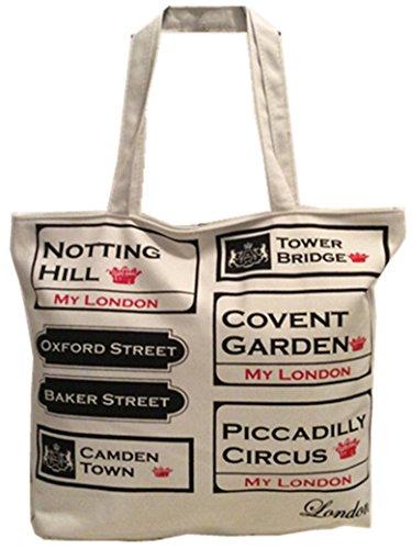 Holiday Damen Tasche (London Boutique , Damen Tote-Tasche Weiß grau)