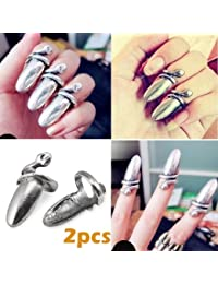 TOOGOO(R) 2 X Vintage Serpent Bague a Ongle Punk Costume Griffe Argent