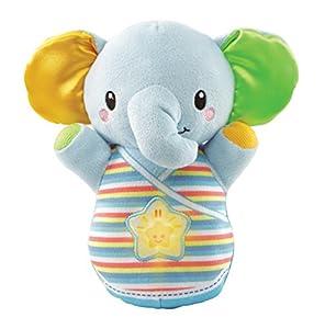 VTech-80-508622 Trompito, Elefante de Peluche para bebé, Musical, luz de Noche, con más de 45 Voces, Canciones y melodías, Color Azul, (3480-508322)