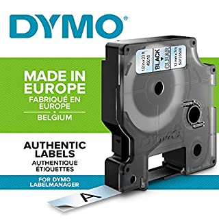 Dymo D1 Standard Self-Adhesive Labels for LabelManager Printers, 12 mm x 7 m - Black on Transparent (B0006B2RNG) | Amazon price tracker / tracking, Amazon price history charts, Amazon price watches, Amazon price drop alerts