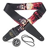 Kmise mi0283Polyester Leder Ende weicher Gurt für Elektro Akustik Gitarre Bass, rot