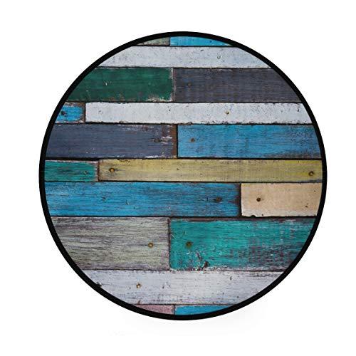MONTOJ Cool Tone Shabby Wood Muster Runde Teppiche Anti-Rutsch-Fußmatte Fußmatte für Wohnzimmer Schlafzimmer -