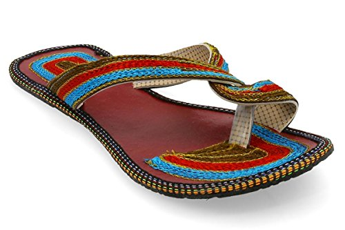 Zoowin Women Girls Rajasthani Jaipuri Jutti Mojari Traditional Multi Color Ethnic Flat Chappal 0021  available at amazon for Rs.299
