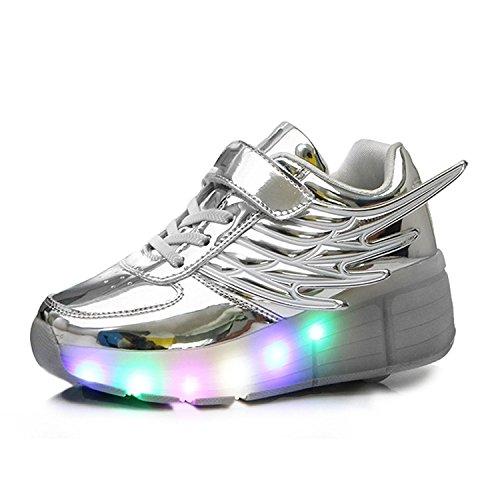 Aidonger Unisex Erwachsene Kinder Engel-Flügel Form Skateboard Schuhe 7 Farbe Farbwechsel LED Leuchtend Sneaker Turnschuhe Silver