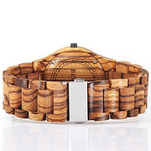 51R3Ypfn2hL - Alienwork Reloj Unisex Relojes Hombre Mujer Madera Zebrano marrón Analógicos Cuarzo Calendario Fecha Impermeable Madera Natural