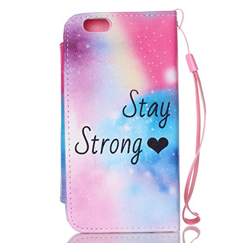 Ancerson Multi-Colored PU Pelle Patta Borsa Custodia Protettiva per Apple Iphone 6 4.7 pollici inch In Pittura ad Olio Stil Colorful Painting Flip Case Custodia in pelle sintetica custodia cover con f Stay Strong
