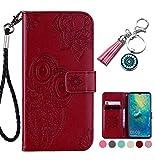 LA-Otter Sony Xperia XZ2 Hülle Leder Eule Mandala Tasche Handyhüllen Lederhülle Ledertasche mit Kartenfach Schutzhülle Flip Case Klapphülle - Brown