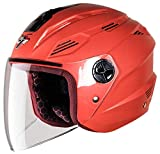 Steelbird SBA-6 7WINGS Dashing Open Face Helmet with Plain Visor (Medium 580 MM, Red)