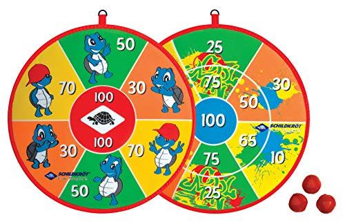Schildköt Soft Dart Set, 2 Klett-Dart Scheiben, beidseitig mit unterschiedlichen Zielfeldern bedruckt, 2 x 3 Klettbälle für 2 Spieler, 970140