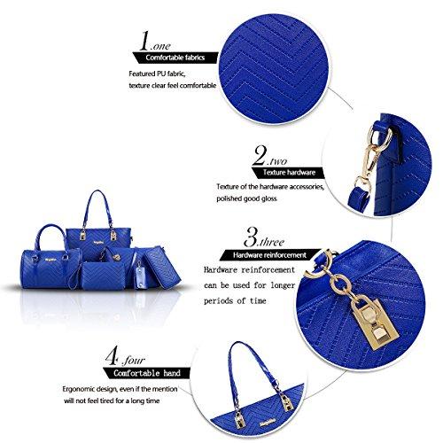 Sunas Borsa semplice del bambino del sacchetto di spalla della borsa delle borse delle nuove donne di modo 2017 6 insiemi di borsa diagonale della borsa delle borse delle donne blu