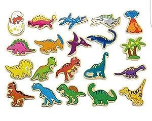 VIGA Toys 50289 - Dinosaurios magnéticos de Madera (20 Unidades)