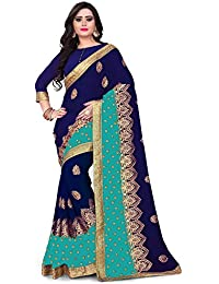 7222e8b9e73 Siddeshwary Fab Women s Georgette Saree With Blouse Piece (Blue Pink Sky  Blue)