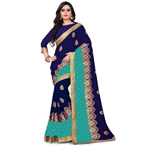 Siddeshwary Fab Women's Blue sky Georgette Saree With Blouse Piece ( Blue...