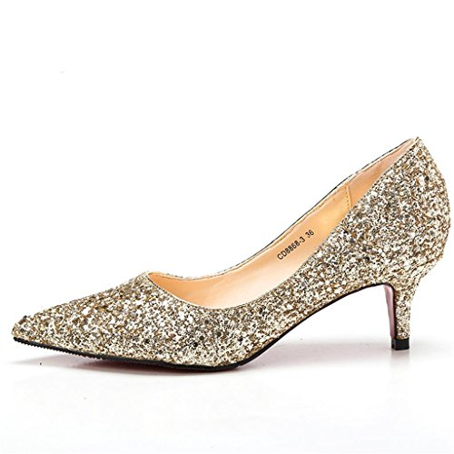 ALUK- Chaussures De Mariage - Fine Avec Pointed Shallow Bouche Sequined Mariage Chaussures Singles Chaussures ( couleur : 9.5cm , taille : 39 ) 5.5cm