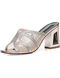KPHY bello/Scarpe da donna/I Sandali Summer Moda Crystal Tacchi A Spillo Fico Pantofole 8Cm Pesce In Bocca Garza...